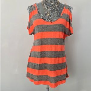 TART Neon Orange & Grey Stripped Cold Shoulder Top